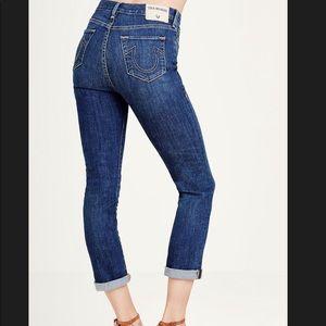 True Religion Cara Straight Cropped Medium Jeans